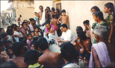 Balbir Mathur Talking to Village Men