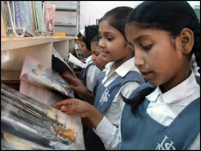 Girls from India reading