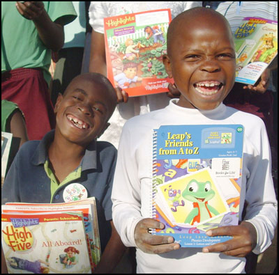 Two boys from Africa with books